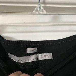 Wide-leg, cuff hem black dress pants.